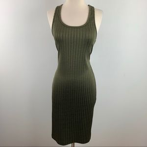 American Apparel Army Green Bodycon Midi Dress